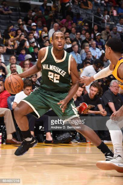 Khris Middleton of the Milwaukee Bucks handles the ball against the Los Angeles Lakers on March 17 2017 at STAPLES Center in Los Angeles California...