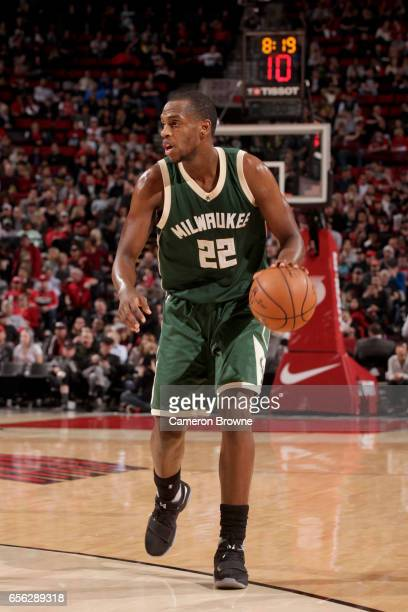 Khris Middleton of the Milwaukee Bucks handles the ball against the Portland Trail Blazers on March 21 2017 at the Moda Center in Portland Oregon...
