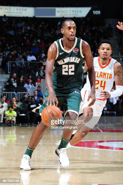 Khris Middleton of the Milwaukee Bucks handles the ball against the Atlanta Hawks on October 29 2017 at Philips Arena in Atlanta Georgia NOTE TO USER...