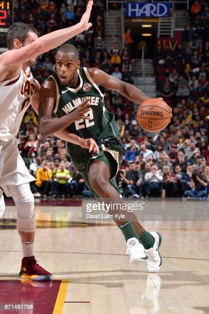 Khris Middleton of the Milwaukee Bucks handles the ball against the Cleveland Cavaliers on Novmber 7 2017 at Quicken Loans Arena in Cleveland Ohio...