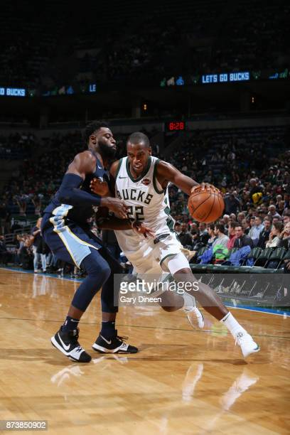 Khris Middleton of the Milwaukee Bucks handles the ball against the Memphis Grizzlies on November 13 2017 at the BMO Harris Bradley Center in...