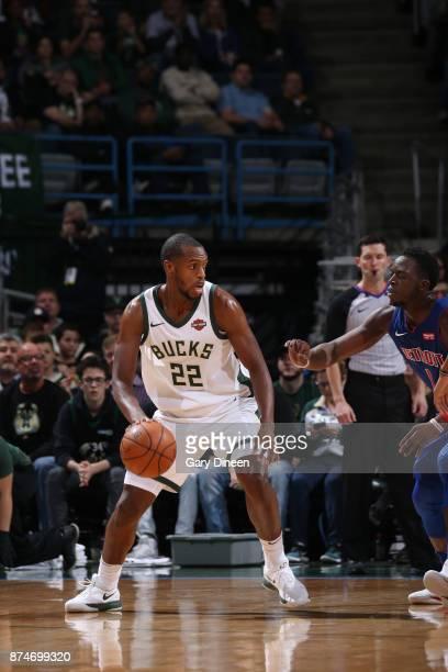 Khris Middleton of the Milwaukee Bucks handles the ball against the Detroit Pistons on November 15 2017 at the BMO Harris Bradley Center in Milwaukee...