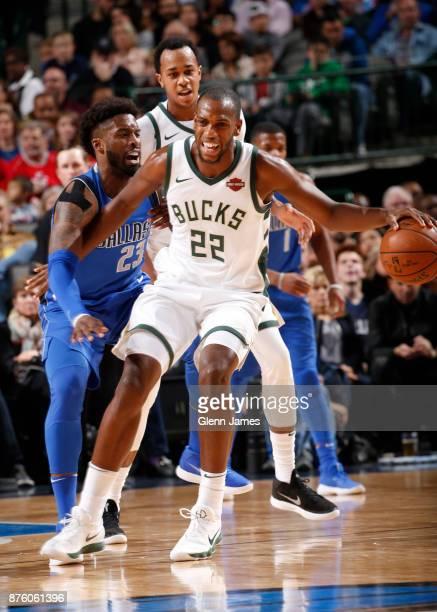 Khris Middleton of the Milwaukee Bucks handles the ball against the Dallas Mavericks in the first quarter on Novemeber 18 2017 at the American...