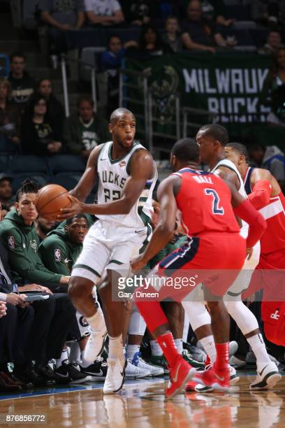 Khris Middleton of the Milwaukee Bucks handles the ball against the Washington Wizards on November 20 2017 at the BMO Harris Bradley Center in...