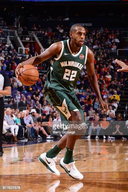 Khris Middleton of the Milwaukee Bucks handles the ball against the Phoenix Suns on November 22 2017 at Talking Stick Resort Arena in Phoenix Arizona...