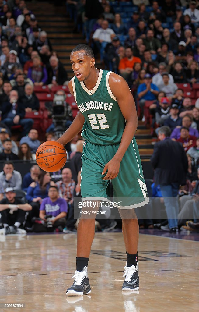 Khris Middleton of the Milwaukee Bucks handles the ball againsth te Sacramento Kings on February 1 2016 at Sleep Train Arena in Sacramento California...