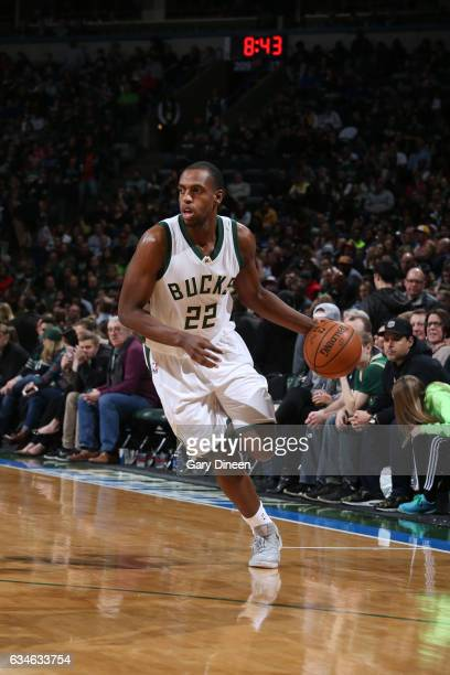 Khris Middleton of the Milwaukee Bucks handles the ball during a game against the Los Angeles Lakers on February 10 2017 at the BMO Harris Bradley...