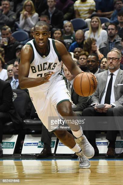 Khris Middleton of the Milwaukee Bucks handles the ball during a game against the Indiana Pacers at the BMO Harris Bradley Center on March 10 2017 in...