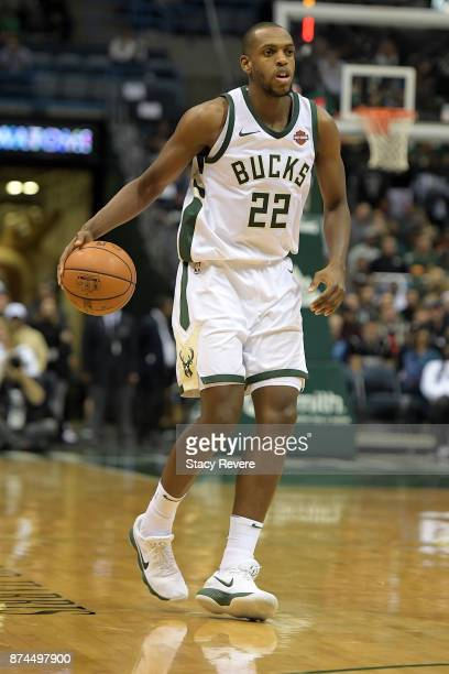 Khris Middleton of the Milwaukee Bucks handles the ball during a game against the Memphis Grizzlies at the Bradley Center on November 13 2017 in...