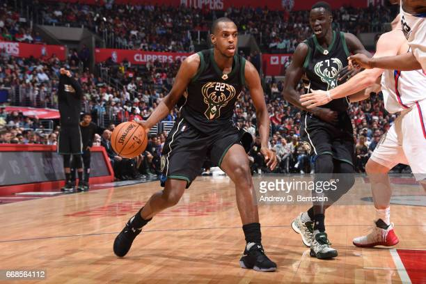 Khris Middleton of the Milwaukee Bucks handles the ball during the game against the Los Angeles Clippers on March 15 2017 at STAPLES Center in Los...