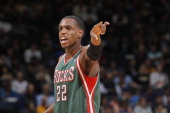 Khris Middleton of the Milwaukee Bucks in a game against the Golden State Warriors on March 20 2014 at Oracle Arena in Oakland California NOTE TO...