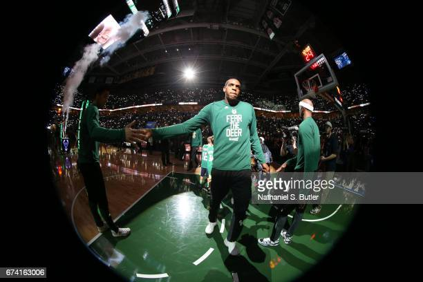 Khris Middleton of the Milwaukee Bucks is introduced before Game Six of the Eastern Conference Quarterfinals of the 2017 NBA Playoffs on April 27...