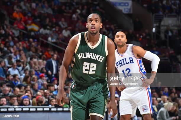 Khris Middleton of the Milwaukee Bucks looks on against the Philadelphia 76ers at Wells Fargo Center on March 6 2017 in Philadelphia Pennsylvania...