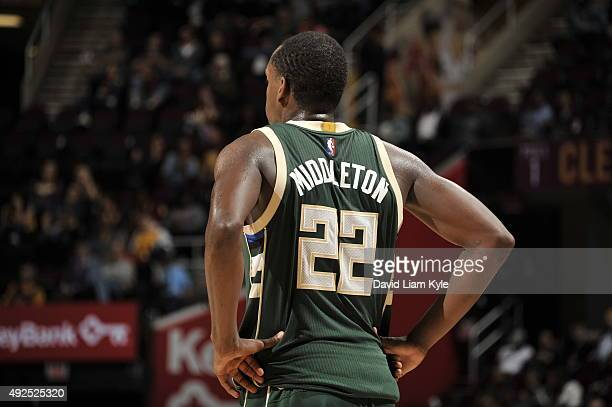 Khris Middleton of the Milwaukee Bucks looks on during the game against the Cleveland Cavaliers on October 13 2015 at Quicken Loans Arena in...
