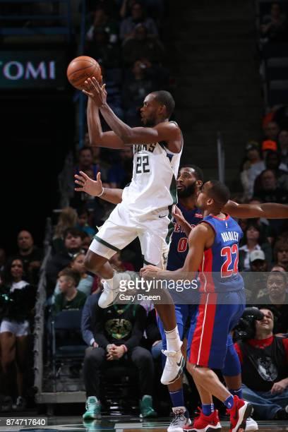 Khris Middleton of the Milwaukee Bucks looks to pass against the Detroit Pistons on November 15 2017 at the BMO Harris Bradley Center in Milwaukee...