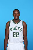 Khris Middleton of the Milwaukee Bucks poses for a portrait during Media Day on September 28 2015 at the Orthopaedic Hospital of Wisconsin Training...