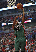 Khris Middleton of the Milwaukee Bucks puts up a shot against the Chicago Bulls during the first round of the 2015 NBA Playoffs at the United Center...