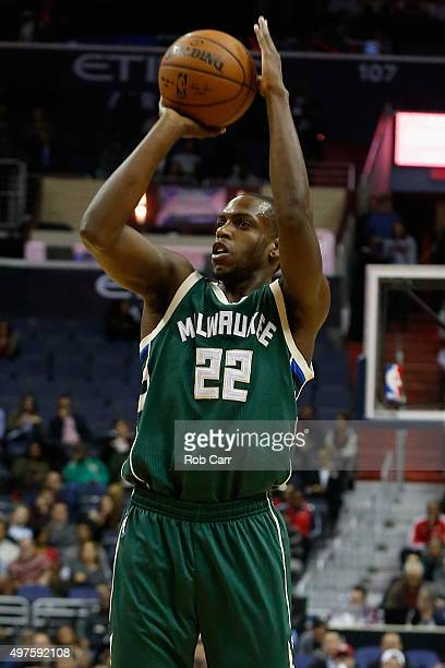 Khris Middleton of the Milwaukee Bucks puts up a shot against the Washington Wizards in the first half at Verizon Center on November 17 2015 in...