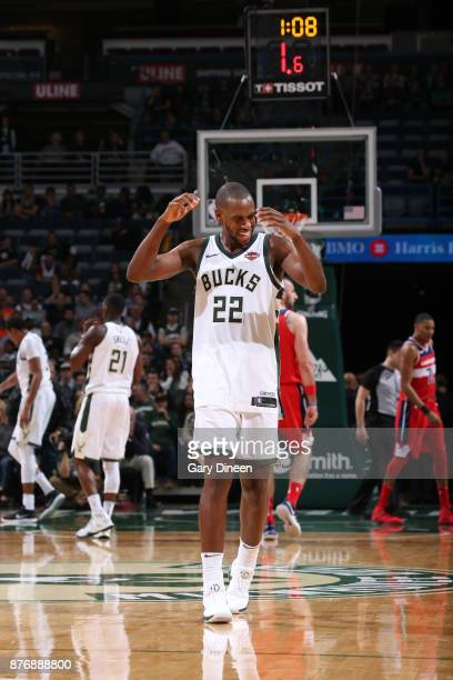Khris Middleton of the Milwaukee Bucks reacts to a play against the Washington Wizards on November 20 2017 at the BMO Harris Bradley Center in...