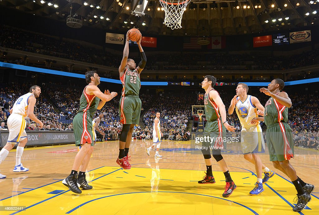 <a gi-track='captionPersonalityLinkClicked' href=/galleries/search?phrase=Khris+Middleton&family=editorial&specificpeople=6689629 ng-click='$event.stopPropagation()'>Khris Middleton</a> #22 of the Milwaukee Bucks rebounds against the Golden State Warriors on March 20, 2014 at Oracle Arena in Oakland, California.