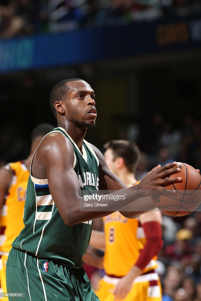 Khris Middleton of the Milwaukee Bucks shoots a free throw during the game against the Cleveland Cavaliers on November 19 2015 at Quicken Loans Arena...