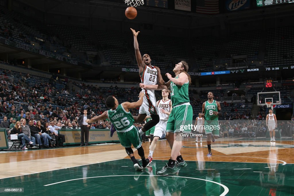 <a gi-track='captionPersonalityLinkClicked' href=/galleries/search?phrase=Khris+Middleton&family=editorial&specificpeople=6689629 ng-click='$event.stopPropagation()'>Khris Middleton</a> #22 of the Milwaukee Bucks shoots against the Boston Celtics on February 10, 2014 at the BMO Harris Bradley Center in Milwaukee, Wisconsin.