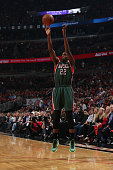 Khris Middleton of the Milwaukee Bucks shoots against the Chicago Bulls in Game Five of the Eastern Conference Quarterfinals during the NBA Playoffs...
