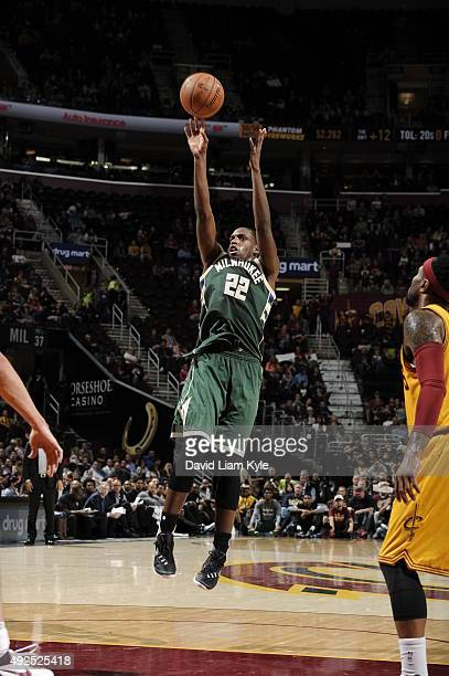 Khris Middleton of the Milwaukee Bucks shoots against the Cleveland Cavaliers on October 13 2015 at Quicken Loans Arena in Cleveland Ohio NOTE TO...