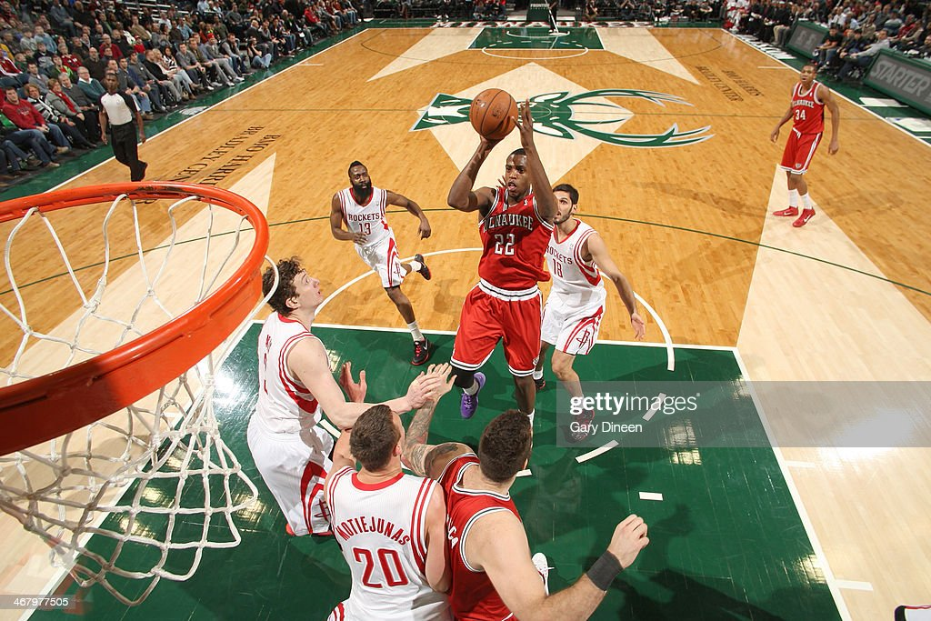 <a gi-track='captionPersonalityLinkClicked' href=/galleries/search?phrase=Khris+Middleton&family=editorial&specificpeople=6689629 ng-click='$event.stopPropagation()'>Khris Middleton</a> #22 of the Milwaukee Bucks shoots against the Houston Rockets on February 8, 2014 at the BMO Harris Bradley Center in Milwaukee, Wisconsin.