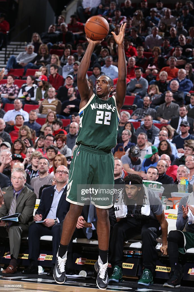 Khris Middleton of the Milwaukee Bucks shoots against the Portland Trail Blazers during the game on February 2 2016 at Moda Center in PortlandOregon...