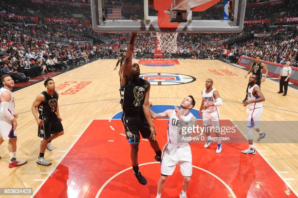 Khris Middleton of the Milwaukee Bucks shoots the ball against the LA Clippers on March 15 2017 at STAPLES Center in Los Angeles California NOTE TO...