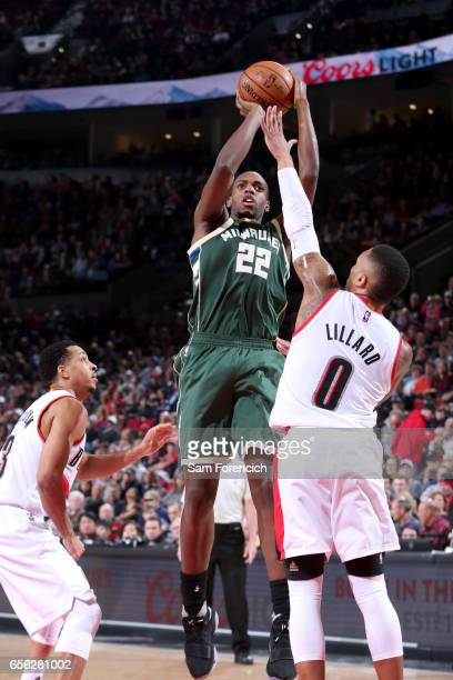 Khris Middleton of the Milwaukee Bucks shoots the ball against the Portland Trail Blazers on March 21 2017 at the Moda Center in Portland Oregon NOTE...