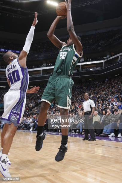 Khris Middleton of the Milwaukee Bucks shoots the ball against the Sacramento Kings on March 22 2017 at Golden 1 Center in Sacramento California NOTE...