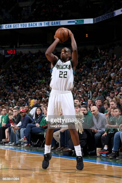 Khris Middleton of the Milwaukee Bucks shoots the ball against the Dallas Mavericks on April 2 2017 at the BMO Harris Bradley Center in Milwaukee...