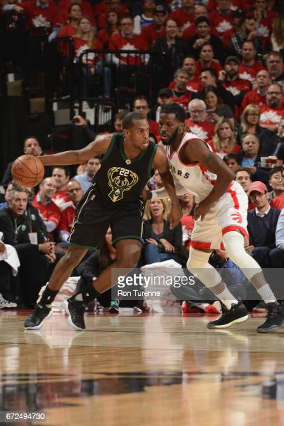 Khris Middleton of the Milwaukee Bucks shoots the ball against the Toronto Raptors in Game Five of the Eastern Conference Quarterfinals during the...
