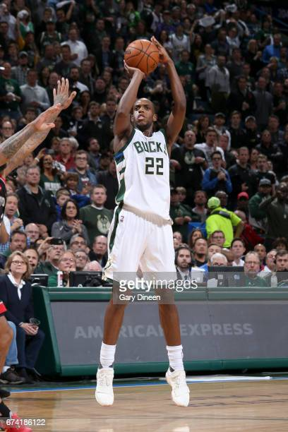 Khris Middleton of the Milwaukee Bucks shoots the ball against the Toronto Raptors during Game Six of the Eastern Conference Quarterfinals of the...