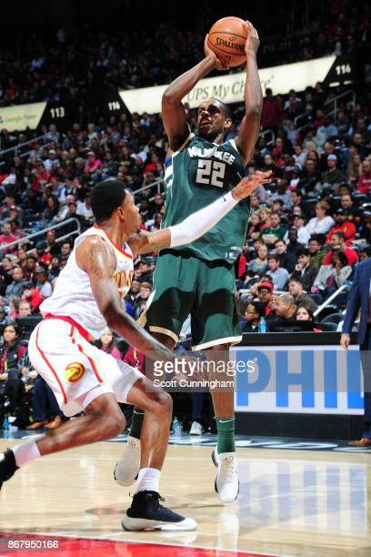 Khris Middleton of the Milwaukee Bucks shoots the ball against the Atlanta Hawks on October 29 2017 at Philips Arena in Atlanta Georgia NOTE TO USER...