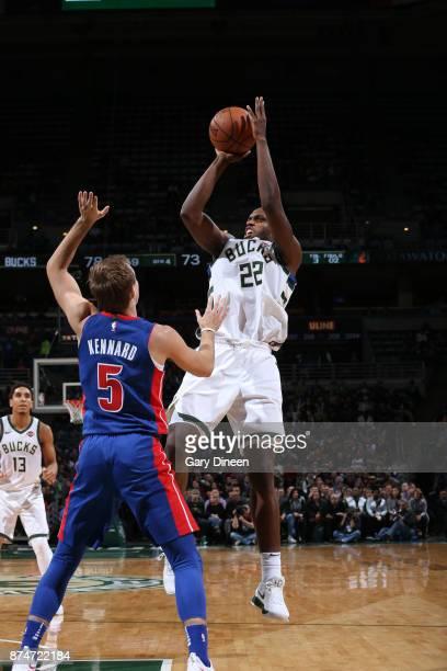 Khris Middleton of the Milwaukee Bucks shoots the ball against the Detroit Pistons on November 15 2017 at the BMO Harris Bradley Center in Milwaukee...