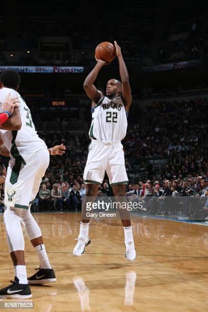 Khris Middleton of the Milwaukee Bucks shoots the ball against the Washington Wizards on November 20 2017 at the BMO Harris Bradley Center in...