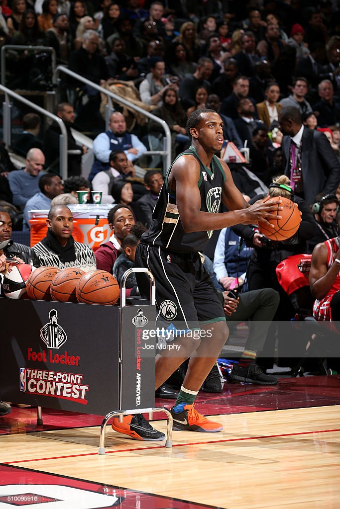 Khris Middleton of the Milwaukee Bucks shoots the ball during the Foot Locker ThreePoint Contest as part of NBA AllStar 2016 on February 13 2016 at...
