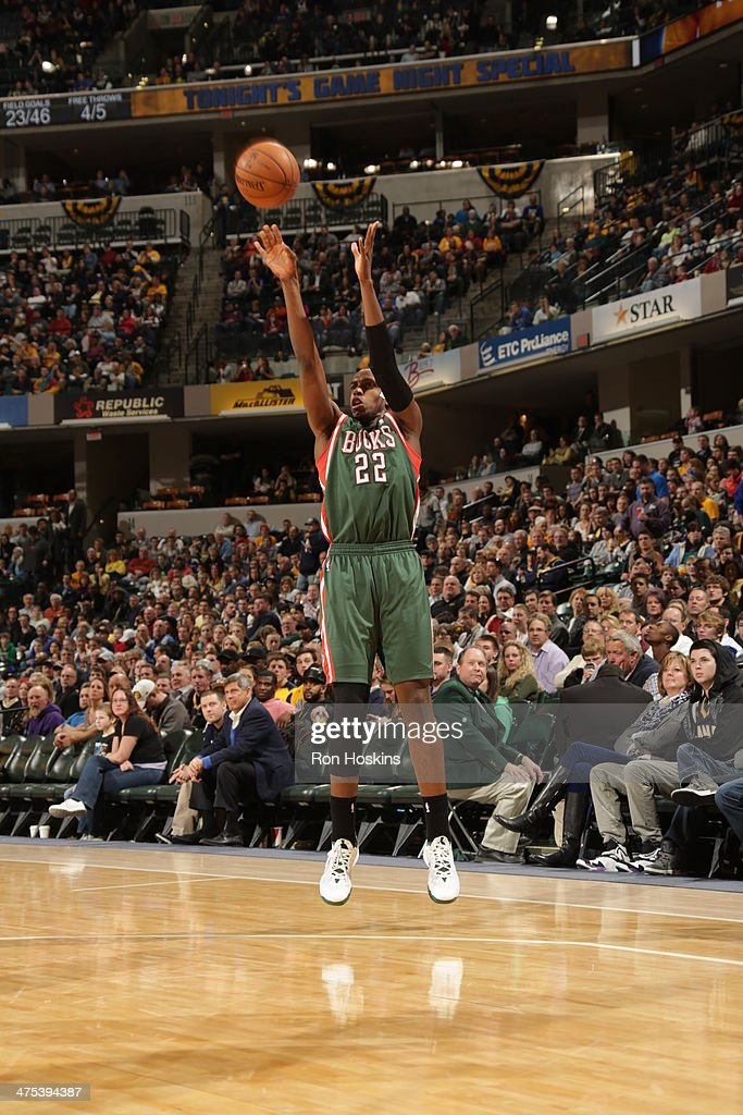 <a gi-track='captionPersonalityLinkClicked' href=/galleries/search?phrase=Khris+Middleton&family=editorial&specificpeople=6689629 ng-click='$event.stopPropagation()'>Khris Middleton</a> #22 of the Milwaukee Bucks takes a shot during a game against the Indiana Pacers at Bankers Life Fieldhouse on February 25, 2014 in Indianapolis, Indiana.