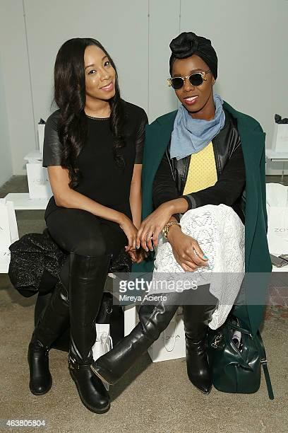 Khristina Williams and fashion blogger Joy Adaeze attend Rolando Santana runway show during MercedesBenz Fashion Week Fall 2015 on February 18 2015...