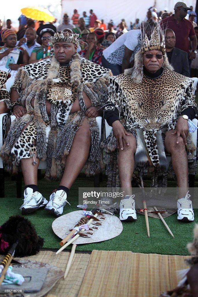 Khulubuse Zuma with his uncle President Jacob Zuma during his traditional wedding to Princess Fikisiwe Dlamini on September 14 2014 in Nkandla South...