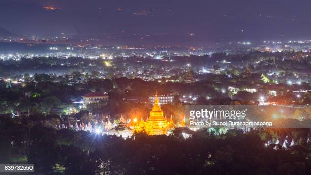 Khuthodaw Pagoda with light in the early morning view from Mandalay hill, Myanmar