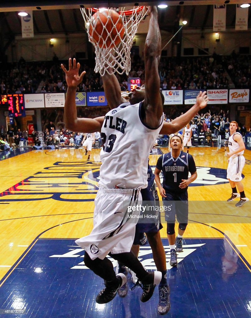 <a gi-track='captionPersonalityLinkClicked' href=/galleries/search?phrase=Khyle+Marshall&family=editorial&specificpeople=7406043 ng-click='$event.stopPropagation()'>Khyle Marshall</a> #23 of the Butler Bulldogs dunks the ball against the Georgetown Hoyas at Hinkle Fieldhouse on January 11, 2014 in Indianapolis, Indiana. Georgetown defeated Butler 70-67.
