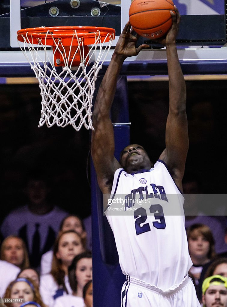 <a gi-track='captionPersonalityLinkClicked' href=/galleries/search?phrase=Khyle+Marshall&family=editorial&specificpeople=7406043 ng-click='$event.stopPropagation()'>Khyle Marshall</a> #23 of the Butler Bulldogs goes up for a dunk against the Temple Owls at Hinkle Fieldhouse on January 26, 2013 in Indianapolis, Indiana. Butler defeated Temple 83-71.