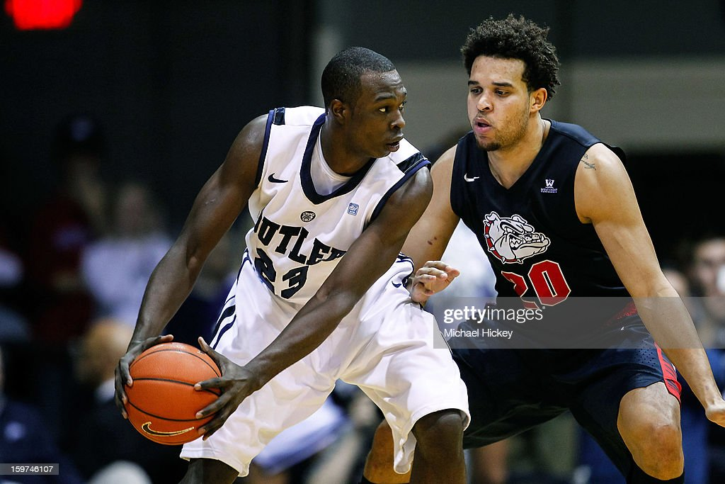<a gi-track='captionPersonalityLinkClicked' href=/galleries/search?phrase=Khyle+Marshall&family=editorial&specificpeople=7406043 ng-click='$event.stopPropagation()'>Khyle Marshall</a> #23 of the Butler Bulldogs holds the ball as <a gi-track='captionPersonalityLinkClicked' href=/galleries/search?phrase=Elias+Harris&family=editorial&specificpeople=6164446 ng-click='$event.stopPropagation()'>Elias Harris</a> #20 of the Gonzaga Bulldogs defends at Hinkle Fieldhouse on January 19, 2013 in Indianapolis, Indiana. Butler defeated Gonzaga 64-63.