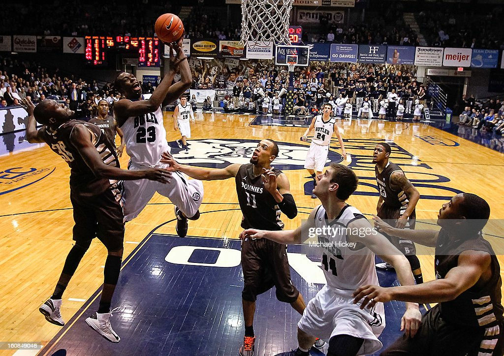 <a gi-track='captionPersonalityLinkClicked' href=/galleries/search?phrase=Khyle+Marshall&family=editorial&specificpeople=7406043 ng-click='$event.stopPropagation()'>Khyle Marshall</a> #23 of the Butler Bulldogs shoots the ball against the St. Bonaventure Bonnies at Hinkle Fieldhouse on February 6, 2013 in Indianapolis, Indiana. Butler defeated St Bonaventure 77-58.
