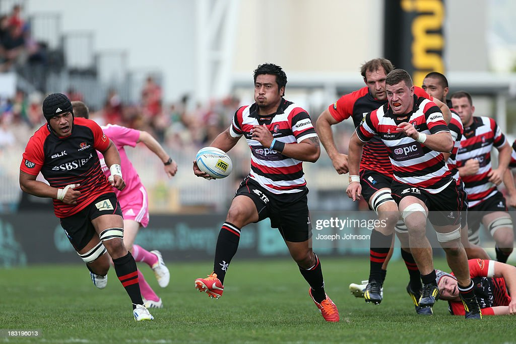 Ki Anufe of Counties Manukau runs with the ball in space during the round eight ITM Cup match between Cantebury and Counties Manukau at AMI Stadium on October 6, 2013 in Christchurch, New Zealand.