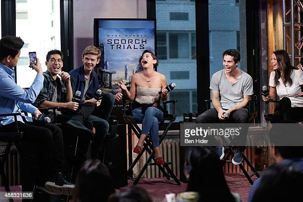 Ki Hong Lee Alexander Flores Thomas BrodieSangster Rosa Salazar Dylan O'Brien and Kaya Scodelario attend AOL BUILD Speaker Series 'Maze Runner Scorch...